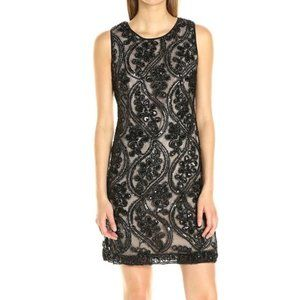 Taylor 4 Party Dress Floral Textured LBD Black New